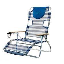 Ostrich 3 N 1 Lightweight Aluminum 5 Position Reclining Beach Chair, Striped