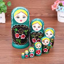 100 Matryoshka Kitchen Handmade 8pcsSet Wooden Nesting Dolls Green Girl Dolls Kid Gift