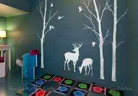 Wall Mural Decals Tree by Birch Trees Decals Deer Wall Decals Nature Wall Decals