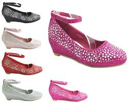 girls glitter kids children diamante low wedge heel ankle strap
