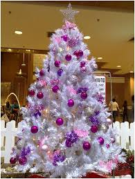 White Christmas Tree With Pink Decorations 7