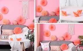 sunbeauty apricot papier dekoration 7er set deko rosa lion wabenball pompom fächer hochzeit geburtstag