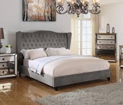 t1803 jameson upholstered velvet platform bed otter color