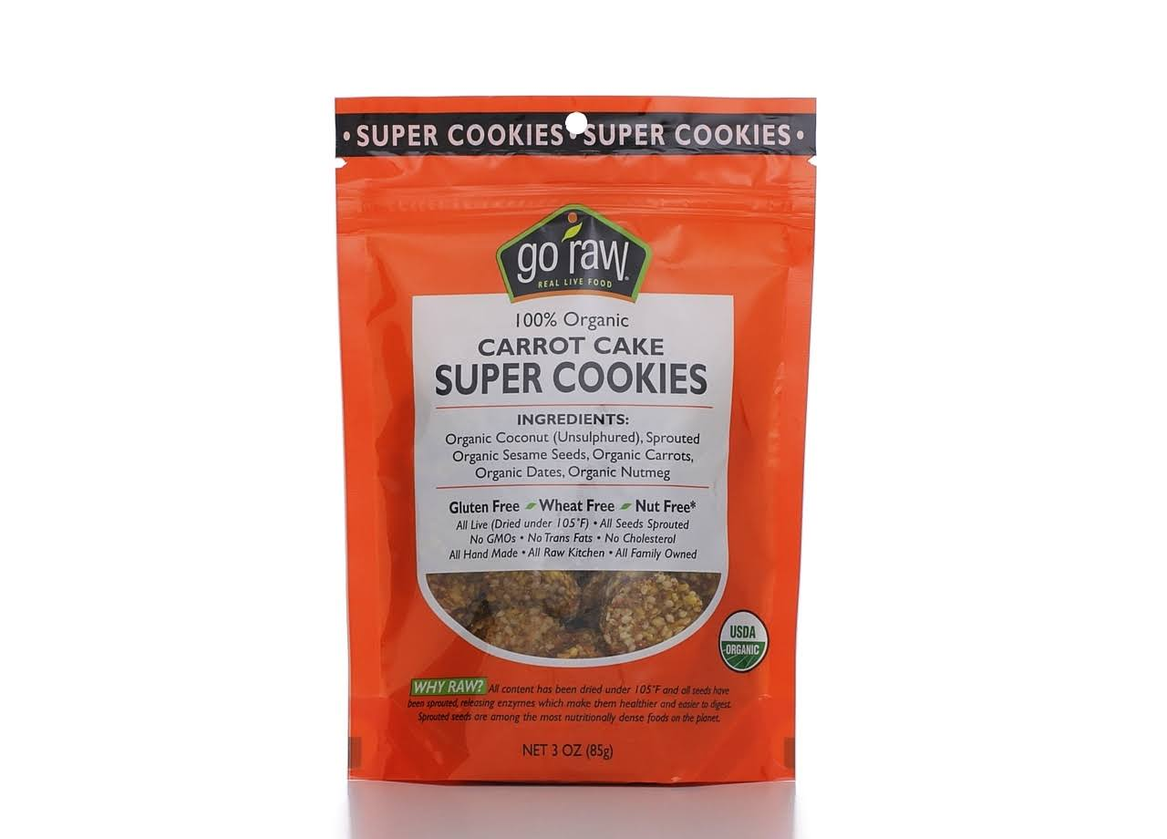 Go Raw Organic Super Cookies, Carrot Cake - 3 oz pouch