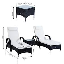 Outsunny Patio Furniture Canada by Outsunny 3pc Rattan Sun Lounger Table Patio Recliner Outdoor