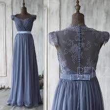 2015 steel blue bridesmaid dress cap sleeve lace wedding dress