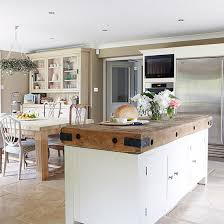 Country Kitchen With Large Butchers Block Island