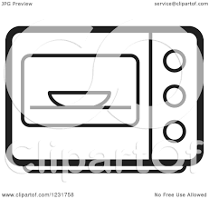 Clipart of a Black and White Microwave Icon Royalty Free Vector Illustration by Lal Perera