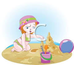 Royalty Free Clip Art Image Little Red Haired Girl Building A Sandcastle On The Beach