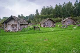 100 House In Nature Medieval Houses Made From Wood In Nature Green Vegetation Around