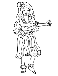 Hawaii Traditional Dance At Luau Party Coloring Pages