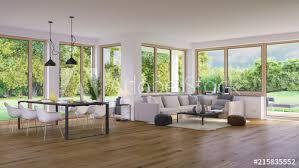 wohnzimmer in luxus villa mit garten modern living room in