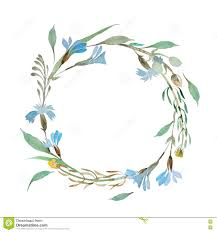 Romantic Wreath Of Blue Flowers Painted In Watercolor Colorful Invitation Royalty Free Illustration