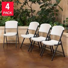 Lifetime Folding Chair, White Or Beige, 4-pack