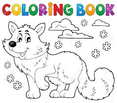 Libro Para Colorear Tema De Zorro Polar 1 Ilustración Vectorial