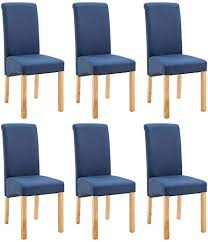 vidaxl 6x esszimmerstuhl esszimmerstühle küchenstuhl stuhl essstuhl hochlehner stuhlgruppe polsterstuhl stühle stuhlset blau stoff holzrahmen