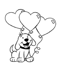 Valentine Card Coloring Page Dog