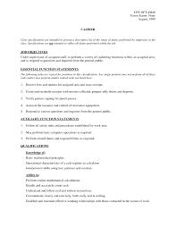 Resume Job Description For Cashier Study Cage