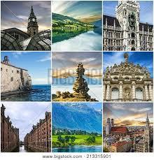 Travel Collage European Landmarks Germany Norway Montenegro