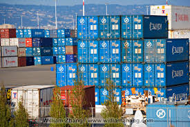 100 Shipping Containers California Blue Shipping Containers At Port Terminal Oakland CA