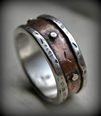 Mens Rustic Wedding Ring Fine Silver And Copper With