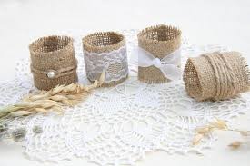 Burlap Wedding Napkin Rings Rustic Decor Table Holder