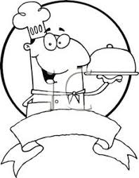 A Black and White Cartoon of a Chef with a Serving Tray Royalty Free Clipart Picture