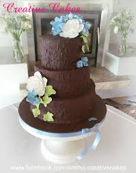 Rustic Chocolate Wedding Cake Made With Ganache And Decorated Camilias Ivy Blue