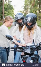 Sweden Sodermanland Nacka Three Girls 14 15 With Motor Scooter
