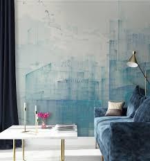 blaue abstrakte tapete blau zimmer innenarchitektur wand