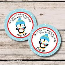Penguin Thank You Tag Favor Tags Printable Birthday Party First