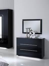 commode chambre à coucher commode 2 tiroirs city laque noir chambre à coucher