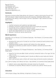 Resume Templates Commercial Real Estate Broker