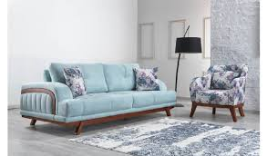 casa padrino designer living room 3 seater sofa seine light blue hotel furniture