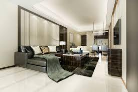 modernes esszimmer und küche mit wohnzimmer mit luxuriösem