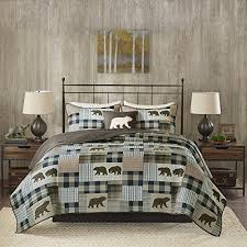 4 Piece Earthy Polar Bears Style Patchwork Quilt Set King Cal Size Geometric Stripes
