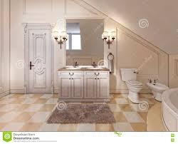 schönes und helles badezimmer in provence mit beige
