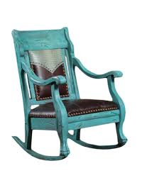 Distressed Turquoise Finish Rocking Chair With Leather Seat And Crocco Embossed Yoke