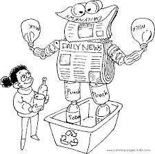 Recycle News Papers Earth Day Color Page Holiday Coloring Pages Plate