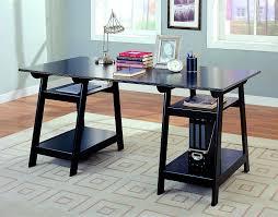 Threshold Campaign Desk Dimensions by Amazon Com Coaster Trestle Style Office Desk Table Black Wood