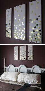 DIY Canvas Wall Art Using Hole Punch And Gold Card