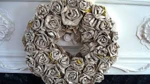 HOW TO DIY ROLLED PAPER ROSES WREATH Newsprint Book Pages Paper Crafts