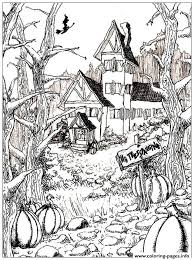Halloween Adult Haunted House And Pumpkins Coloring Pages Print Download 387 Prints
