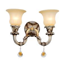 2 light metal beige shade funky wall sconces features electroplated