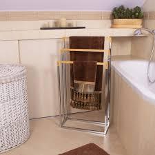 handtuchständer freistehend für badezimmer metall bambus