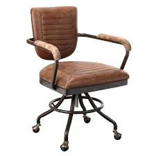 Amazon.com : Foster Industrial Office Chair In Leather Light Brown ...