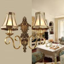 shabby chic wall lights with brass fixture 2 light