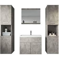 badezimmer badmöbel set montreal xl 60cm waschbecken beton grau unterschrank hochschrank waschtisch möbel
