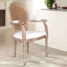 Louis Beige Cane Dining Arm Chair Set Of 2