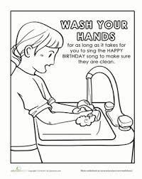 Kindergarten Preschool Life Learning Worksheets Hand Washing Coloring Page